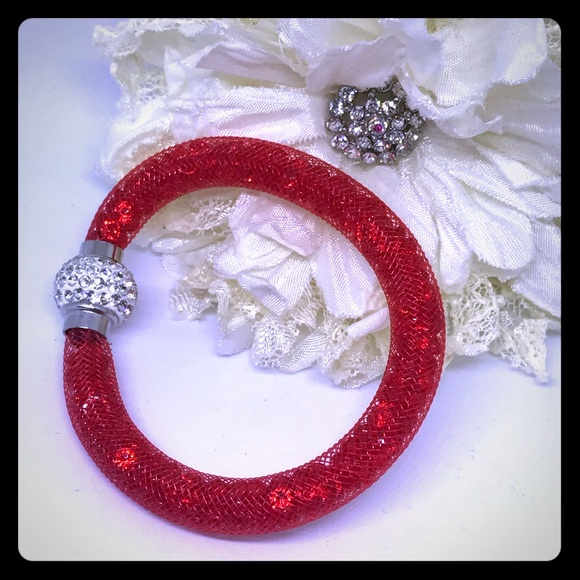 "7"" Red Crystal Mesh Bracelet [JW-25]"